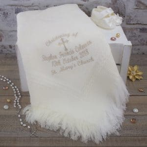 personalised ivory christening shawl