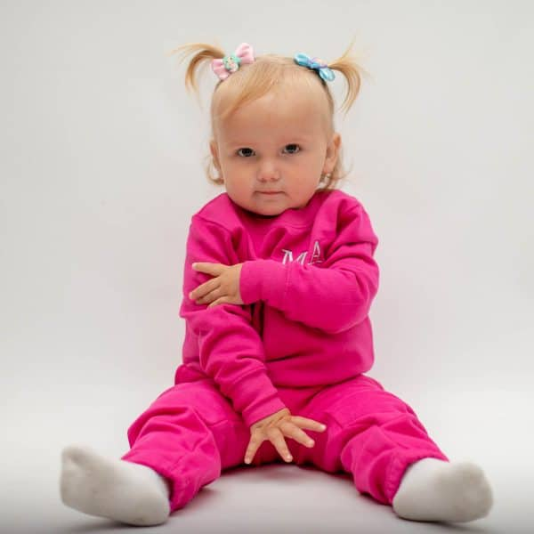 personalised pink baby tracksuit