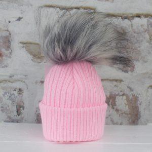 Luxury Pink Baby Fur Pom Hat