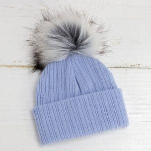 Personalised Blue Baby Pom Hat
