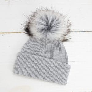 Personalised Grey Baby Pom Hat