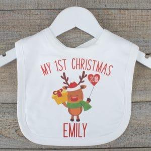 """Personalised Rudolph 'My 1st Christmas' Bib"""
