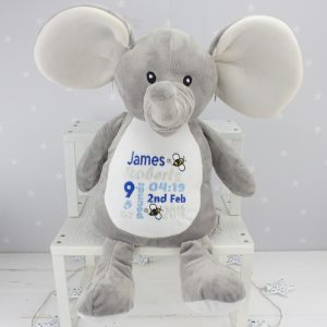 'Personalised Grey Elephant' Soft Toy