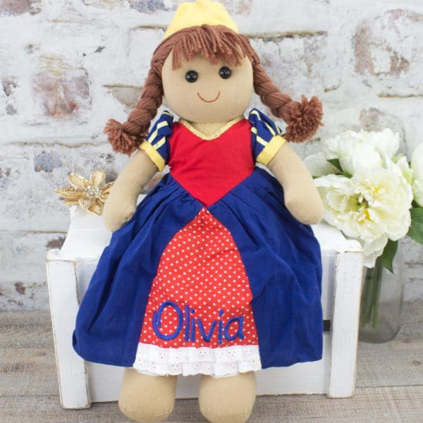 personalised baby girl rag doll - princess
