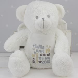 'Personalised White Teddy Bear Angel