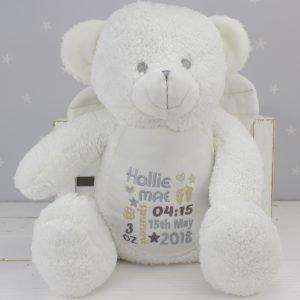 'Personalised White Teddy Bear Angel