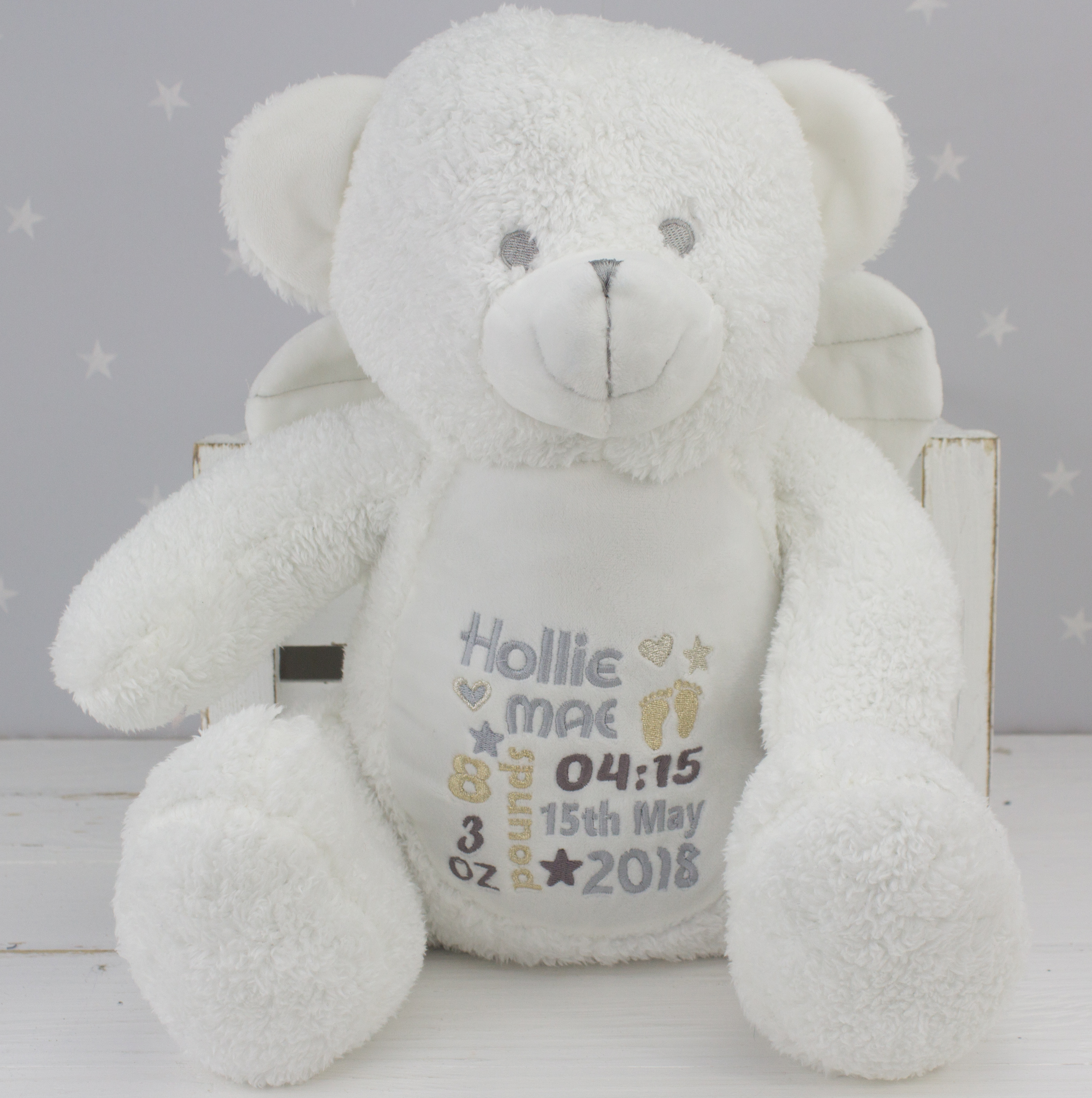 Personalised White Angel Teddy Bear Heavensent Baby Gifts