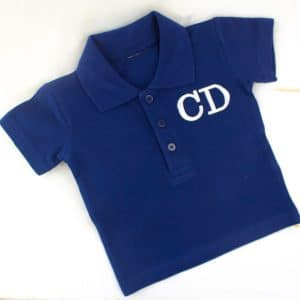 monogrammed navy baby polo shirt