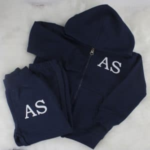 personalised navy baby tracksuit