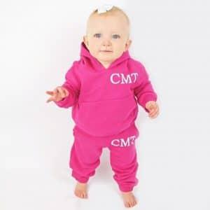 Personalised Pink baby hoodie tracksuit