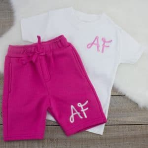 """Personalised White & Pink Summer Loungewear Set"""