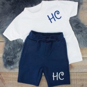 """Personalised White & Navy Summer Loungewear Set"""