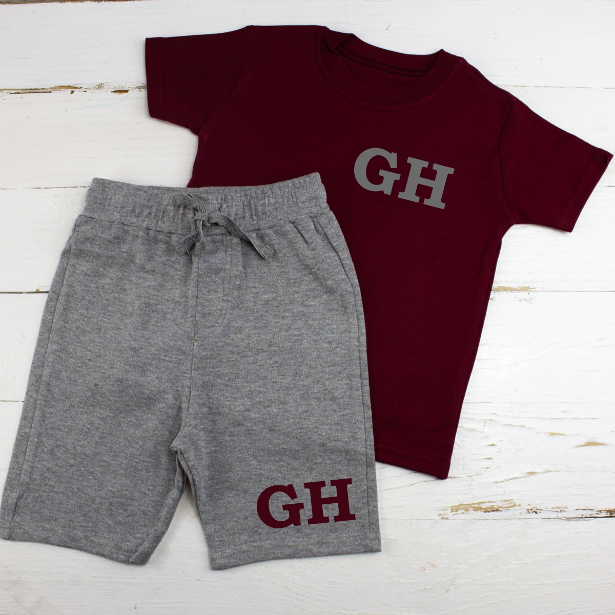 Personalised Maroon Summer Baby Clothes