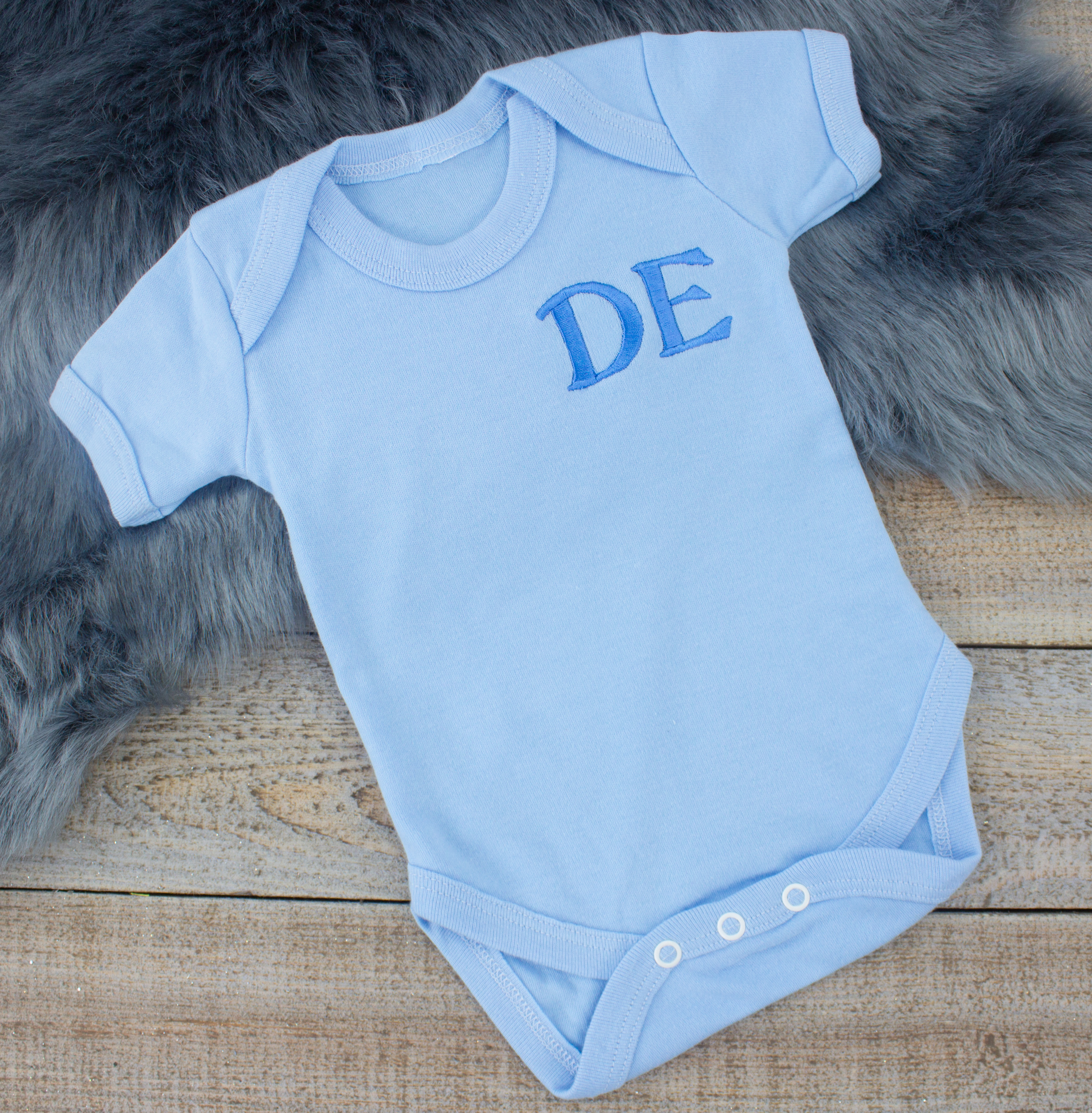 9829fa7f8 Monogrammed Blue Baby Bodysuit   Heavensent Baby Gifts