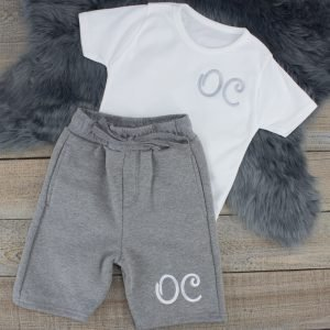 """Personalised White & Grey Summer Loungewear Set"""