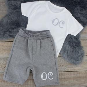 """Personalised White & Grey Summer Loungewear Set"""