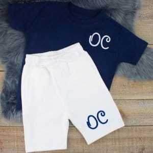 """Personalised Navy & White Summer Loungewear Set"""