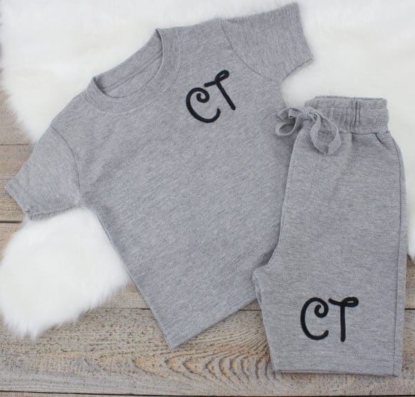 Personalised Grey Baby loungewear