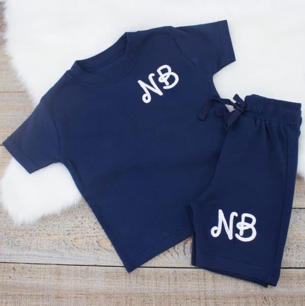 personalised navy baby loungewear