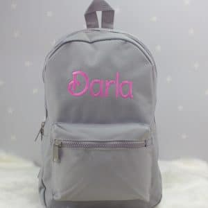 personalised grey nursery backpack