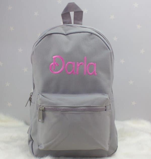 personalised grey nursery backpack