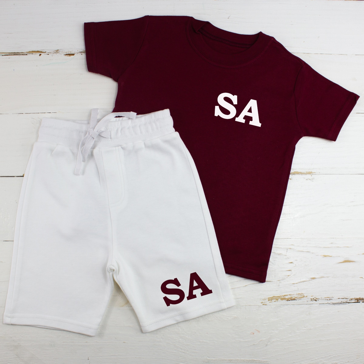 Personalised Maroon & white Baby Summer Clothes