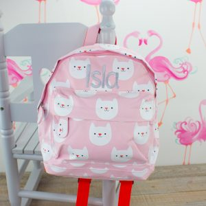 'Personalised Kitten Print Backpack'