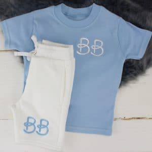"""Personalised Blue & White Summer Loungewear Set"""