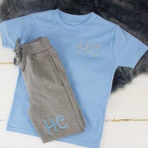 """Personalised Blue & Grey Summer Loungewear Set"""
