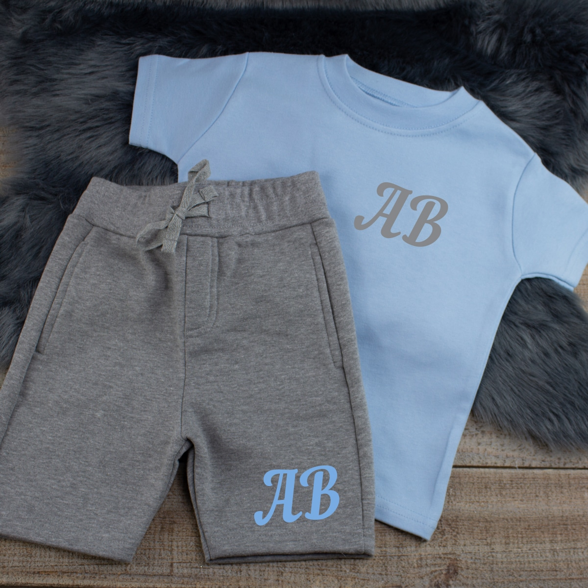 Personalised Blue Baby Boy Summer Clothes