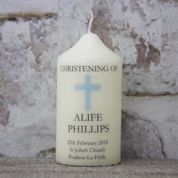 Personalised Christening Candle - Small Boys