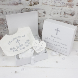 Personalised White Christening Gift Set