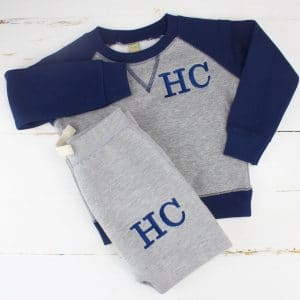 'Personalised Navy & Grey Baby/Toddler Tracksuit'