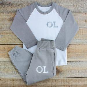 Personalised Grey & White Baby Loungewear