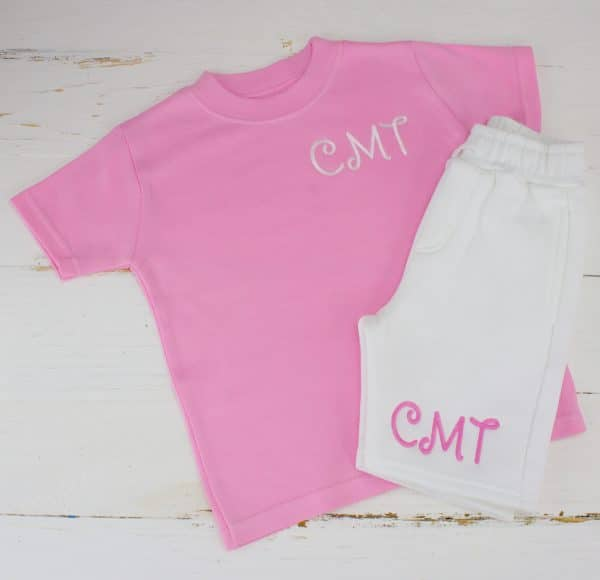 Personalised pink & white summer loungewear set