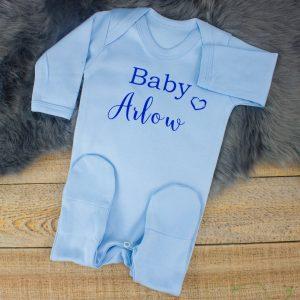 Personalised Blue 'Baby' Shower Sleepsuit