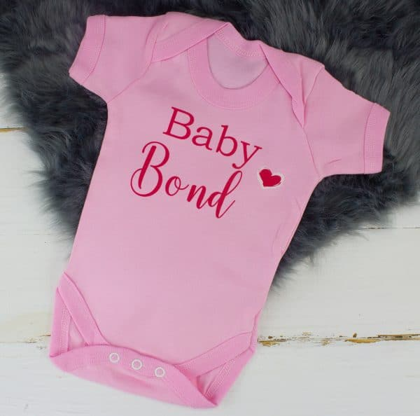 Personalised pink baby shower bodysuit