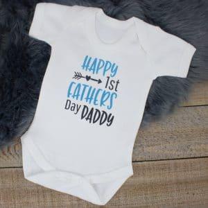 'Happy 1st Father's Day' Baby Bodysuit