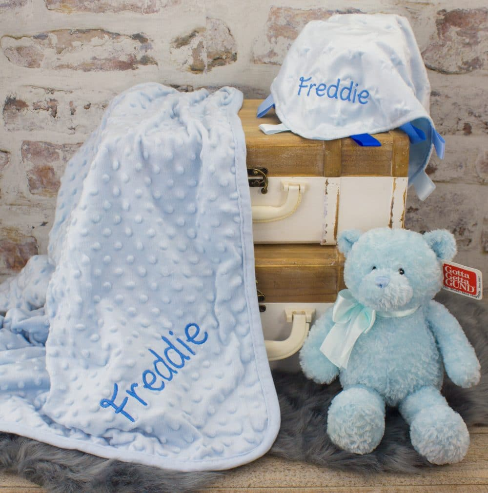 Personalised Embroidered Baby Boy/'s Blue Teddy Comforter Toy  Gift
