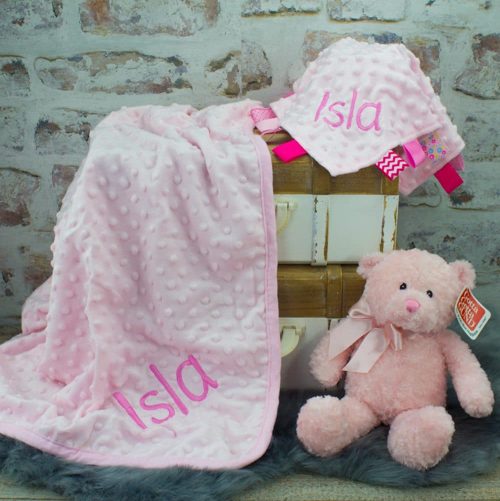 up to 20 Characters Two Names Personalised Gift Pink Baby Shawl Blanket /& Fluffy Teddy Bear Set