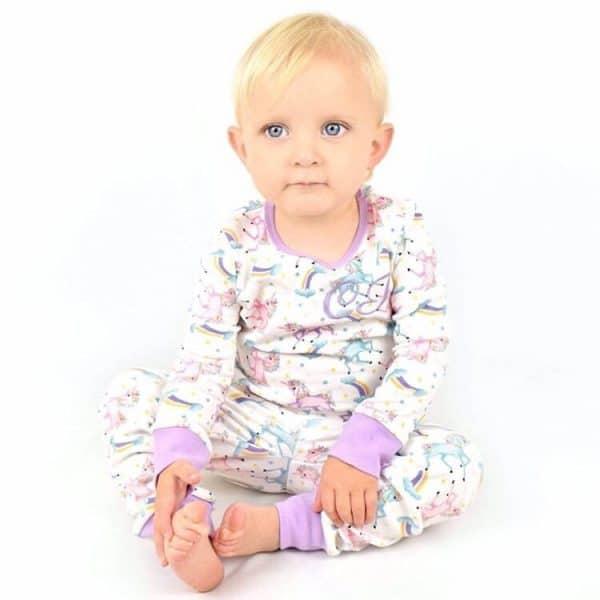 personalised baby unicorn pyjamas