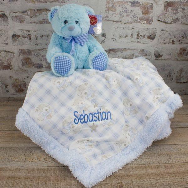 Personalised Baby Boy teddy bear gift set