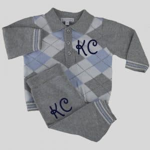 Personalised Baby Boy Knitted Clothes Set - Grey 2 piece