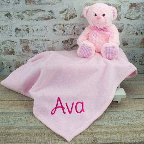 Personalised Pink Baby Girl Gift Set - Blanket & Teddy Bear
