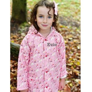 Personalised Pink Baby Girl Winter Coat - Horses