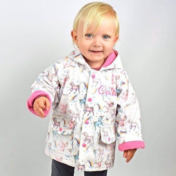 personalised unicorn raincoat