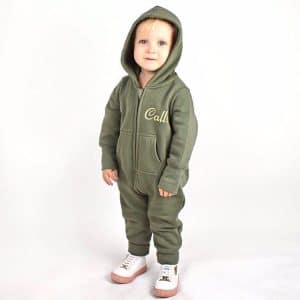 personalised khaki baby all in one