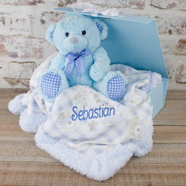 Personalised Baby Boy Gift Set - Blanket & Teddy Bear
