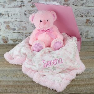 Personalised Baby Girl Teddy Bear & Blanket Gift Set