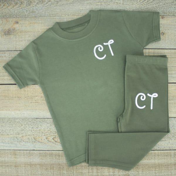 Personalised Khaki Baby Loungesuit